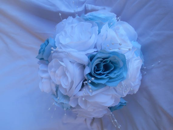 Spa and baby blue bridal bouquet 2 pieces Bride and groom