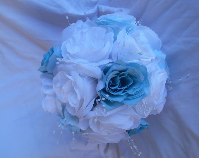 Spa blue and white bouquet with mini pearl accent nosegay style 2 pieces