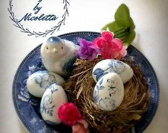 Shabby gifts etsy vintage rose easter eggs shabby chic white and blue decor decorated eggs negle Gallery