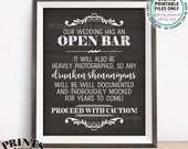 "Open Bar Sign, Drunken Shenanigans Sign, Alcohol Wedding Documented Bar Caution Sign, PRINTABLE 8x10/16x20"" Chalkboard Style Bar Sign <ID>"