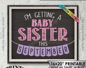 "I'm Getting a Baby Sister Pregnancy Announcement, It's a Girl Gender Reveal, Custom Colors, 8x10/16x20"" Chalkboard Style Printable Sign"