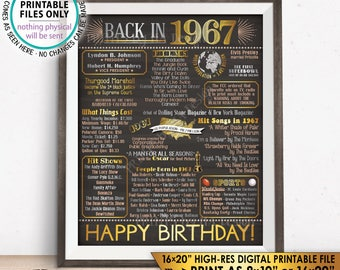 "Flashback to 1967 Birthday Poster, Born in 1967 Birthday Flashback 50 Years Back in 1967, PRINTABLE 8x10/16x20"" Chalkboard Style Sign <ID>"