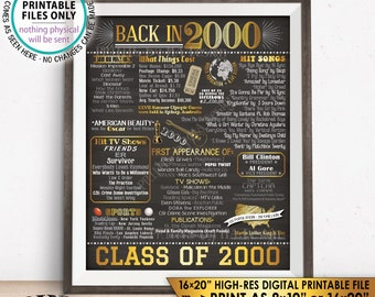 "Class of 2000 Reunion 18 Year Reunion Back in 2000 Flashback to 2000 18 Years Ago, Gold, PRINTABLE 8x10/16x20"" Chalkboard Style Sign <ID>"