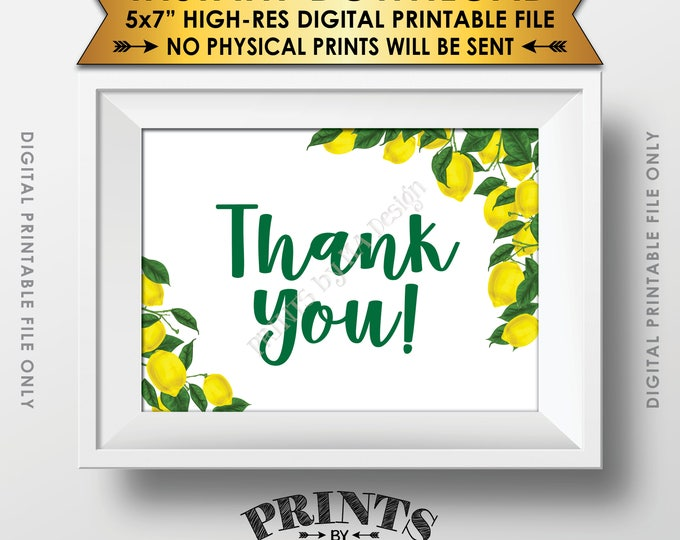 "Lemon Thank You Sign or Card, Lemon Themed Celebration, Tuscan Garden Party, Tropical Summer Lemons, Italy, 5x7"" Printable Instant Download"