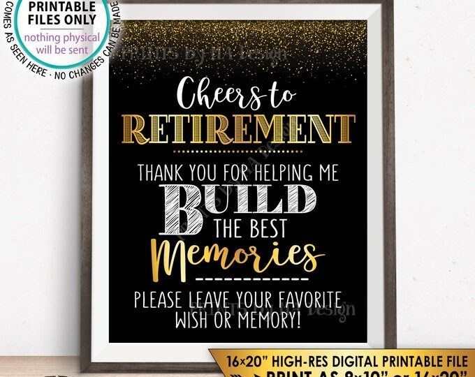 """Retirement Party Sign, Leave Your Favorite Wish or Memory, Cheers to Retirement Celebration, Black & Gold 8x10"""" PRINTABLE Instant Download"""