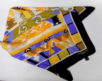Vintage Lombagine Paris scarf printed silk scarf multicolor silk scarf made in Italy