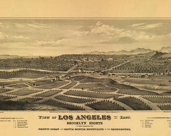Los Angeles CA Panoramic map dated 1877. This print is a wonderful wall decoration for Den, Office, Man Cave or any wall.