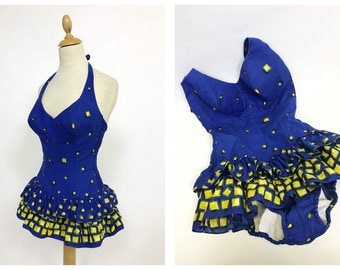 Vintage 1950s blue printed cotton flounces ruffles swimsuit one piece - size XS/S
