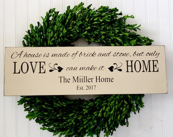 New Home Sign - Wedding Gift - Personalized  Home Sign - House is Made of Brick and Stone -  Housewarming Gift - Wedding Shower Gift