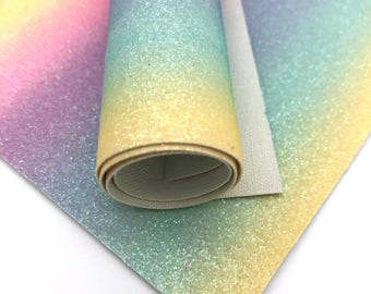 Rainbow Glitter Canvas /1 sheet/A4 (21x29cm) or A5 (21x14cm)/Glitter Leatherette/Faux Leather/Hair bow leather/hair accessory/craft leather/