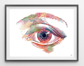 Human Eye Anatomy Art Print Optometry Watercolor Poster Ophthalmology illustration Medical Art Wall Clinic Decor
