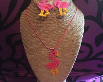 Flamingo beaded earrings and necklace