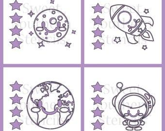 Space PYO Cookie Stencils (4 separate stencils)