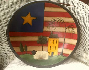Hand painted Wooden Bowl Primitive Folk Art Americana Stars Stripes