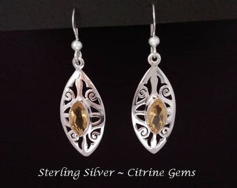 Citrine Earrings: Handmade Sterling Silver Earrings with Citrine Gemstones | Silver Earrings, Drop Earrings, Dangle Earrings 283