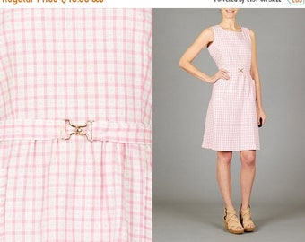 ON SALE Vintage Pink & White Check Dress
