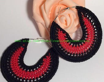 Black and red crochet earrings, crochet jewelry, Carmen earrings, hoop crochet earrings, Spain earrings