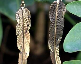 Long Feather  Earrings (brass or alpaca)