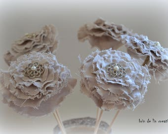 Bouquet of flower fabric: linen, twine, button in iron