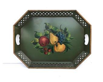 Decorative Tray -- Thanksgiving Tray -- Vintage Thanksgiving Tray -- Hand painted Tray -- Tole Tray -- Vintage Fruit Tray --Tin Serving Tray