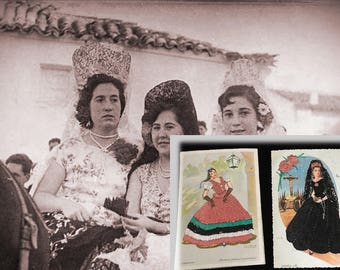 Two Unique Vintage Spanish Hand Embroidered Souvenir Postcards of Beautiful Senoritas, Found at Barcelona Flea Market