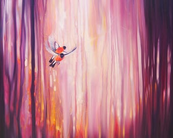 LARGE ORIGINAL Oil Painting - Everyday Magic - a semi abstract forest landscape with birds