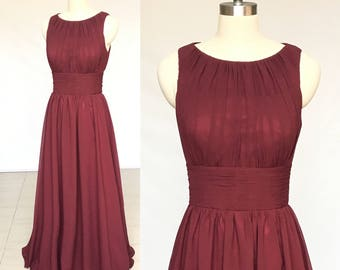 Scoop Burgundy Chiffon Long Bridesmaid Dress
