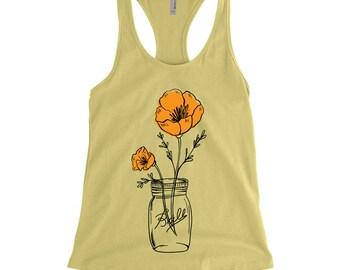 California Poppy Mason Jar Racer-Back Tank, State Flower, Wildflower Tank