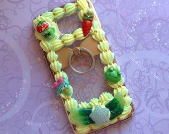 Samsung S6 Case | Kawaii | Decoden | Green | Ring Holder