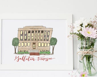 Gallatin Tennessee Courthouse Doodle // 8x10 print