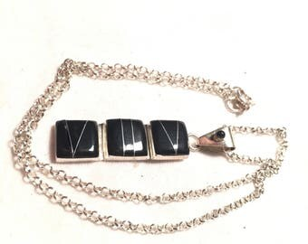 925 sterling silver with onxy pendant necklace