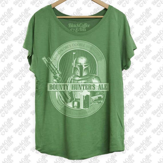 St Patricks Day Shirt -Star Wars Beer Shirt -Womens Boba Fett Bounty Hunter Ale Hand Screen Printed on a Womens Green Dolman-St Pattys Day