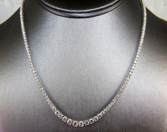 Fine Round Cut Graduated Diamond Lady's Tennis Necklace 18K White Gold 10.08Ct