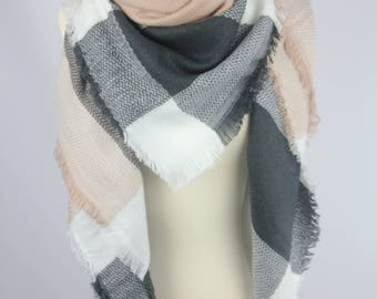New Lady Blanket Oversized Tartan Scarf Wrap Shawl Plaid Multi Color – Grey Camel