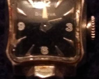Vintage art deco Bulova ladies automatic watch 10 rgp, L8, black dial, working
