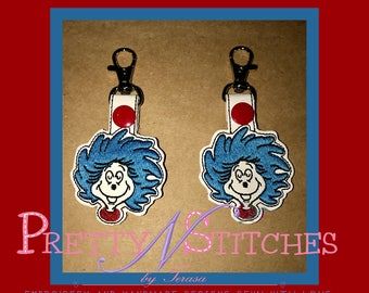 In the Hoop Crazy Blue Hair Zipper Pull and Key Fob Embroidery Designs  includes hoop sizes for 4X4, 5X5 and 5X7 for each