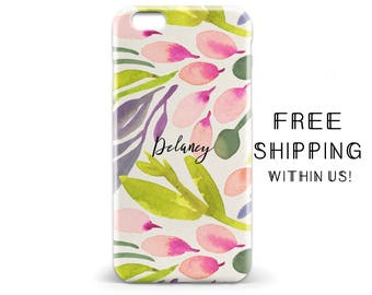 1482 // Pink and Green Floral Phone Case Monogram Lilly Pulitzer Inspired iPhone 5/5S, 6/6S, 6+/6S+ Samsung Galaxy S5, S6, S6 Edge Plus, S7