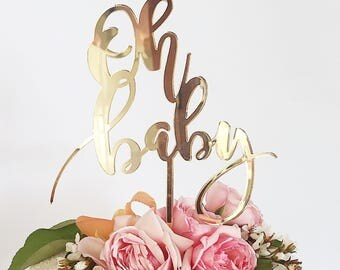 Oh Baby Cake Topper - Baby Shower - Gold Mirror Acrylic - Baby Girl - Baby Boy - Mum To Be - Plastic - Reusable