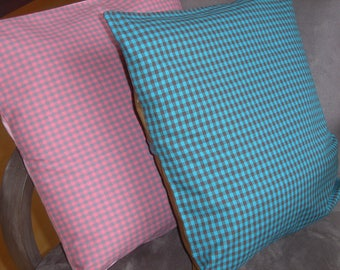 Pillow soft gingham blue and Brown