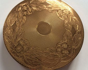 Gold Tone Vintage Pressed Powder Mirror Compact with Pretty Etched Design.