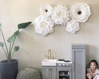 Crepe Paper Flower Set-Paper Roses and Peonies-Nursery Wall Flowers-Paper Flowers-Floral Nursery Decor-Boho Nursery-Rustic Wedding