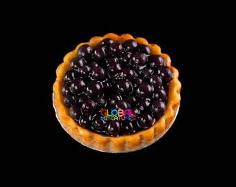 Dollhouse Miniatures Handcrafted Clay Blackcurrant in Syrup Round Tart on Aluminum Dish - 1:12 Scale