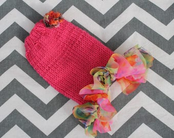 Teeny Tiny XXXS Puppy/Kitten Sweater Dog Dress for 1 to 1 1/2 lbs Bright Pink w/Chiffon Ruffle Chihuahua Yorkie Maltese Teacup Puppy