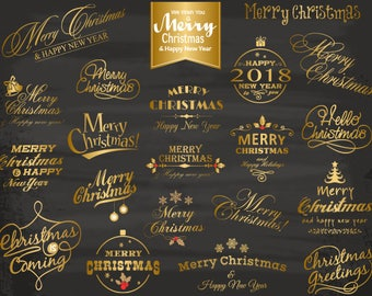 Digital Gold Christmas Clipart, Gold Merry Christmas Photo Overlay, Gold Christmas Wording Clip Art, Gold Christmas Photo overlay 0424