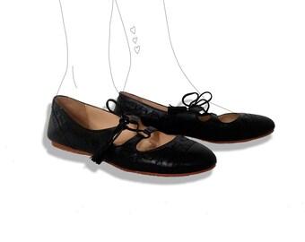 Brooks brothers leather tassel ballet flats