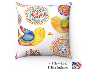 Pillow Beautiful Birds Pillow with Filling 14x14 Pillow, 16x16 Pillow, 18x18 Pillow, 20x20 Pillow