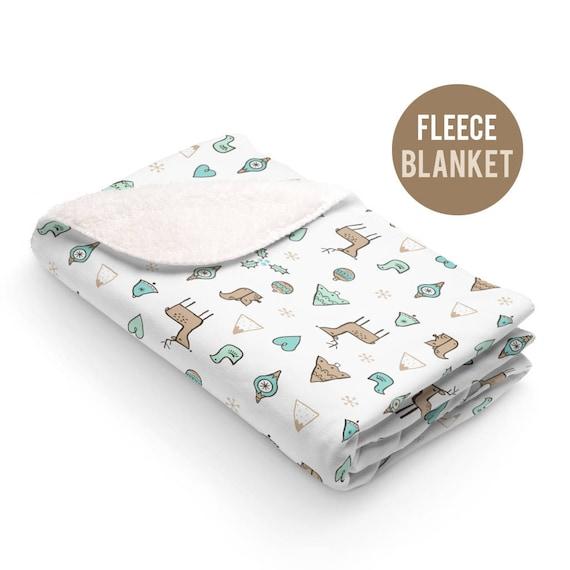 Fleece Blanket - Christmas Reindeer and Christmas Trees Blanket - 50x60 size - Cute Christmas Blanket
