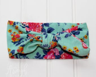 Mint Floral Knot Headband