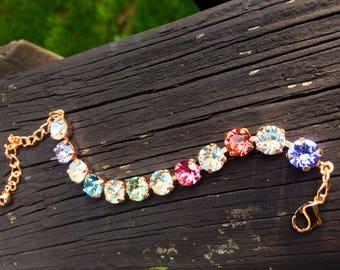 PASTEL ROSE GOLD Swarovski crystal bracelet 8mm pink, green, blue, crystal, light mix