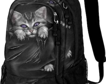 Backpack Rucksack Laptop Bag BRIGHT EYES CAT Goth